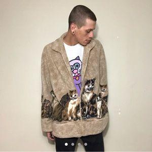 Vintage Cat Print Fleece Zip Up Jacket
